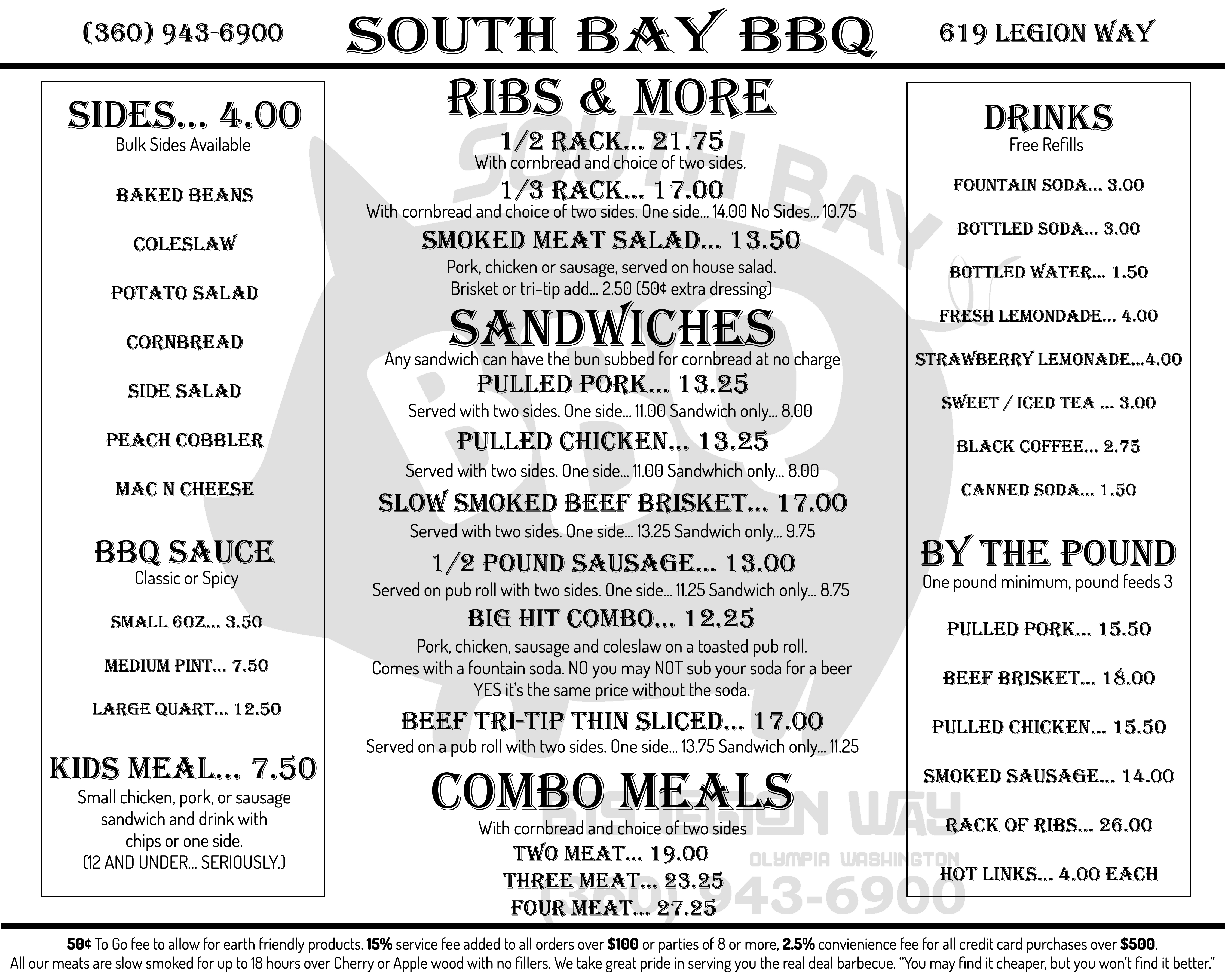 Southbay Dickerson's BBQ Menu